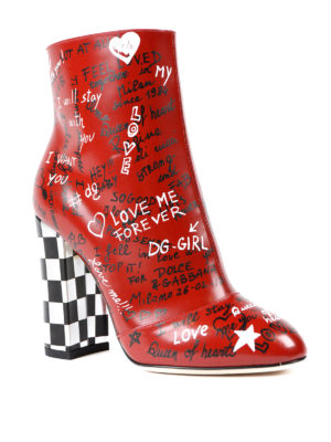Dolce & Gabbana: ankle boots online - Graffiti print leather booties