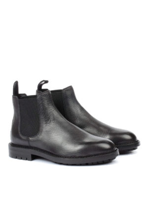 Dolce & Gabbana: ankle boots online - Grosgrain puller leather booties