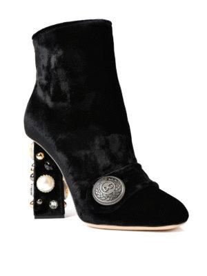 Dolce & Gabbana: ankle boots online - Jeweled heel velvet booties