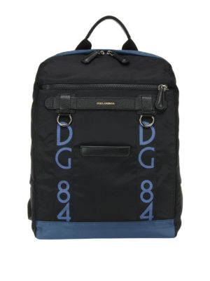 Dolce & Gabbana: backpacks - Contrasting trimmed nylon backpack