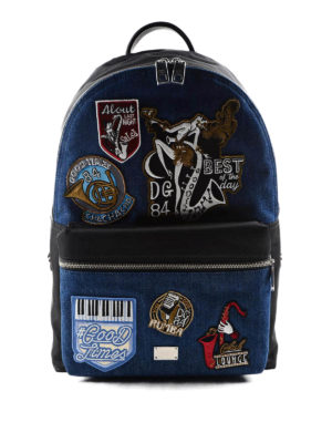 Dolce & Gabbana: backpacks - Good Times patch denim backpack
