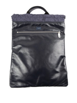 Dolce & Gabbana: backpacks - Leather backpack with drawstring