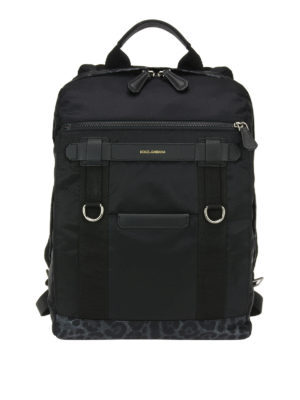 Dolce & Gabbana: backpacks - Leo print details nylon backpack