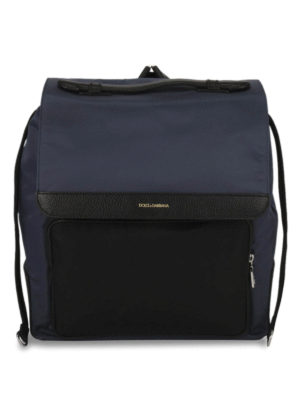 Dolce & Gabbana: backpacks - Nylon and leather flap backpack