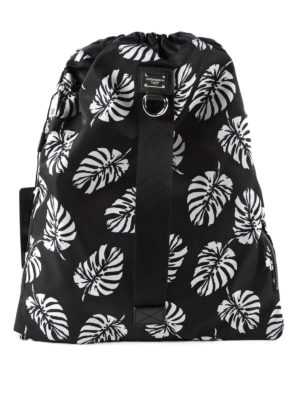Dolce & Gabbana: backpacks - Printed nylon drawstring backpack
