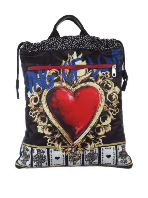 Dolce & Gabbana: backpacks - Printed nylon flat backpack