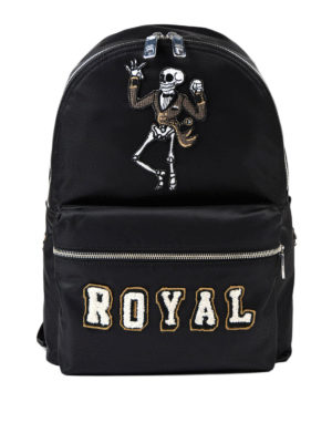 Dolce & Gabbana: backpacks - Royal backpack with skeleton patch