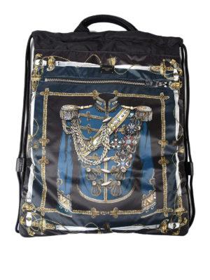 Dolce & Gabbana: backpacks - Uniform print nylon backpack