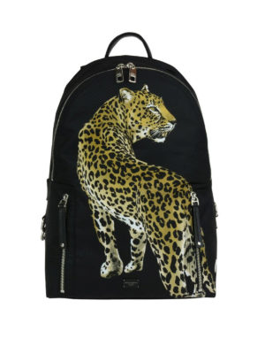 Dolce & Gabbana: backpacks - Vulcano backpack with leopard print