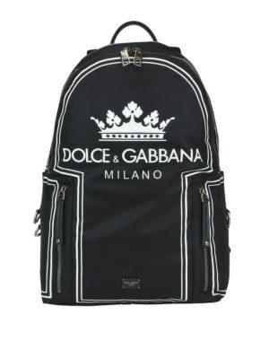 DOLCE & GABBANA: zaini - Zaino Vulcano con stampa corona