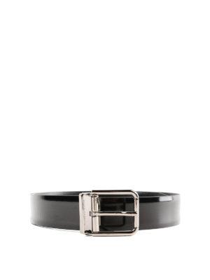 DOLCE & GABBANA: cinture - Cintura classica in pelle spazzolata nera
