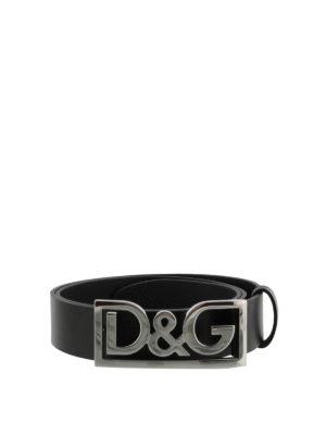 DOLCE & GABBANA: cinture - Cintura D&G in pelle nera