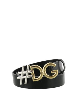 DOLCE & GABBANA: cinture - Cintura #DG in pelle nera