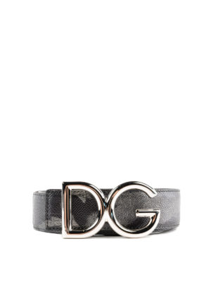DOLCE & GABBANA: cinture - Cintura in pelle stampata fibbia DG argento