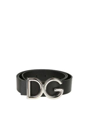 DOLCE & GABBANA: cinture - Cintura in pelle fibbia D&G metallo argento