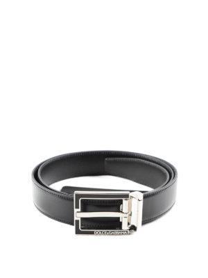 Dolce & Gabbana: belts - Enamel buckle leather belt