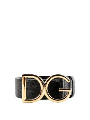 DOLCE & GABBANA: cinture - Cintura in Dauphine fibbia oro