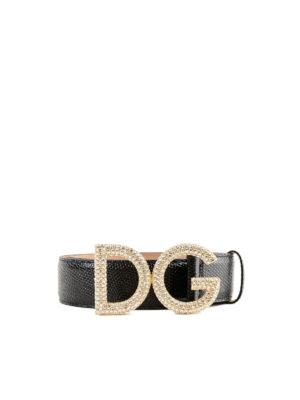 DOLCE & GABBANA: cinture - Cintura gioiello in pelle stampa iguana