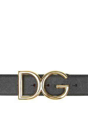 DOLCE & GABBANA: cinture - Cintura in pelle dauphine con fibbia logo