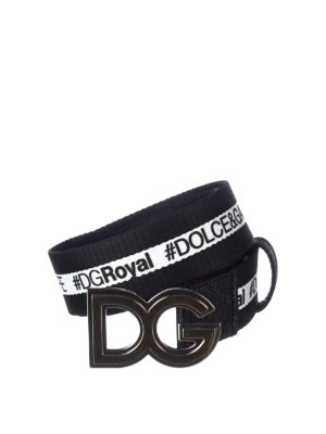 Dolce & Gabbana: belts - Logo detailed cotton belt