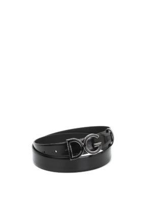 Dolce & Gabbana: belts - Logo plaque leather belt