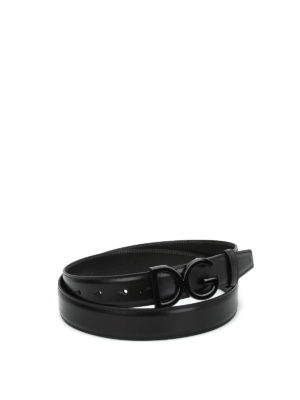 Dolce & Gabbana: belts - Logo plaque leather belt