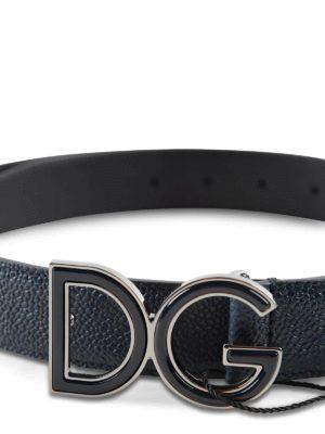 Dolce & Gabbana: belts online - DG buckle leather belt