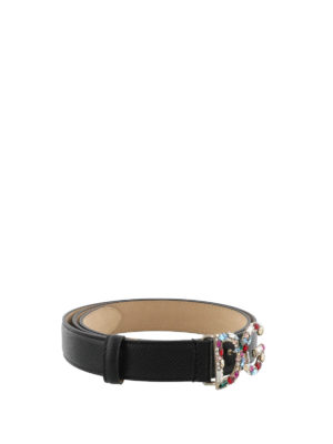 Dolce & Gabbana: belts online - Leather belt with logo buckle
