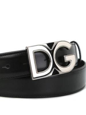 Dolce & Gabbana: belts online - Logo plaque leather belt