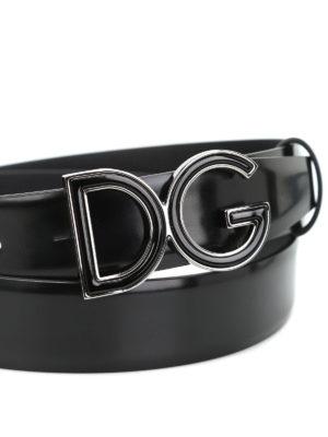 Dolce & Gabbana: belts online - Logo plaque leather belt