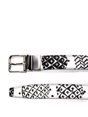 Dolce & Gabbana: belts online - Printed leather reversible belt