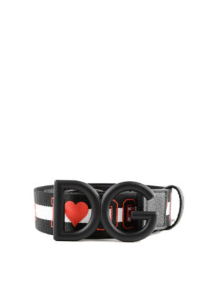 DOLCE & GABBANA: cinture - Cintura in jacquard con fibbia logo gommata