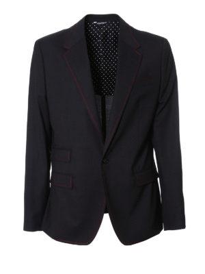 Dolce & Gabbana: blazers - Contrasting stitching wool blazer
