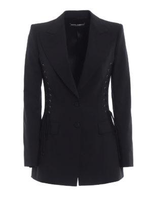 Dolce & Gabbana: blazers - Corset lace detail cool wool blazer