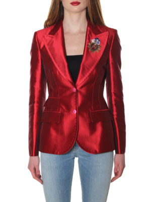 Dolce & Gabbana: blazers online - Patch detailed cotton satin blazer