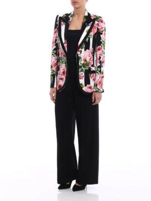 Dolce & Gabbana: blazers online - Silk blend roses print blazer