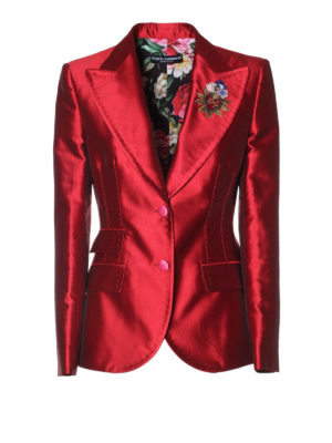 Dolce & Gabbana: blazers - Patch detailed cotton satin blazer