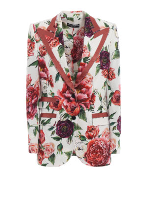 DOLCE & GABBANA: giacche blazer - Giacca monopetto in cady stampa Peonie