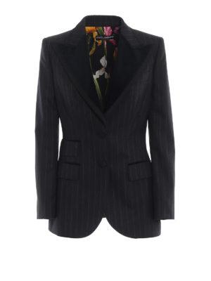 DOLCE & GABBANA: giacche blazer - Blazer gessato con maxi revers di velluto