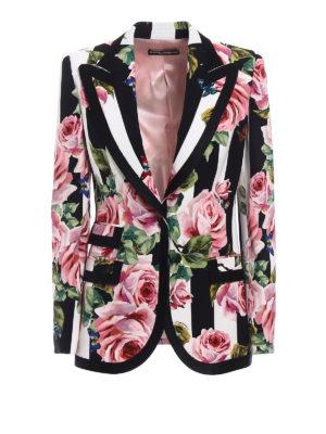 Dolce & Gabbana: blazers - Silk blend roses print blazer