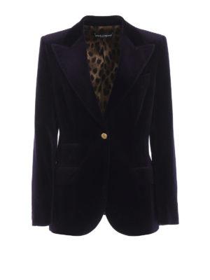 DOLCE & GABBANA: giacche blazer - Blazer in velluto liscio color melanzana