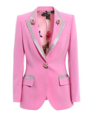 Dolce & Gabbana: blazers - Stretch wool blazer with roses