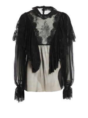 Dolce & Gabbana: blouses - Flounced silk and lace blouse