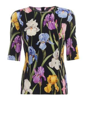 DOLCE & GABBANA: bluse - Blusa in seta stampata a motivo Iris