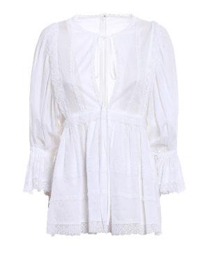 Dolce & Gabbana: blouses - Lace trim batista cotton blouse