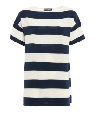 Dolce & Gabbana: blouses - Lightweight crepe striped blouse