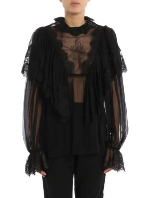 Dolce & Gabbana: blouses online - Flounced silk and lace blouse