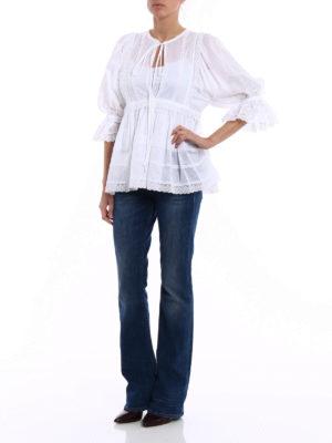 Dolce & Gabbana: blouses online - Lace trim batista cotton blouse