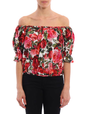 Dolce & Gabbana: blouses online - Rose print off the shoulder blouse