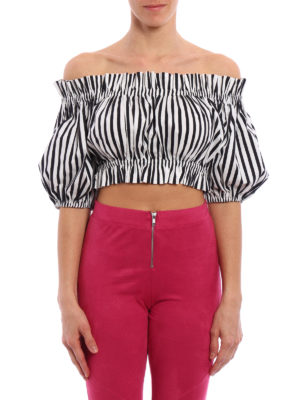 Dolce & Gabbana: blouses online - Striped off the shoulder crop top
